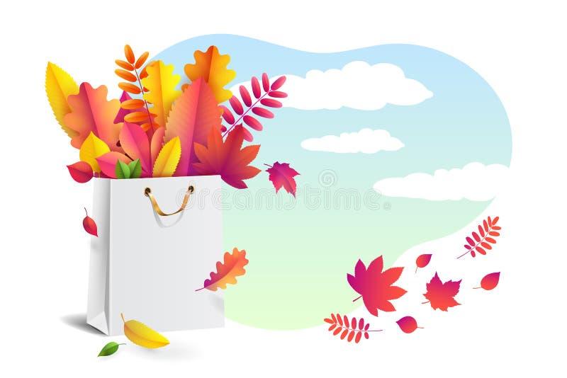 A ilustração do vetor do ramalhete brilhante do outono caído sae no saco de compras do papel do presente ilustração do vetor