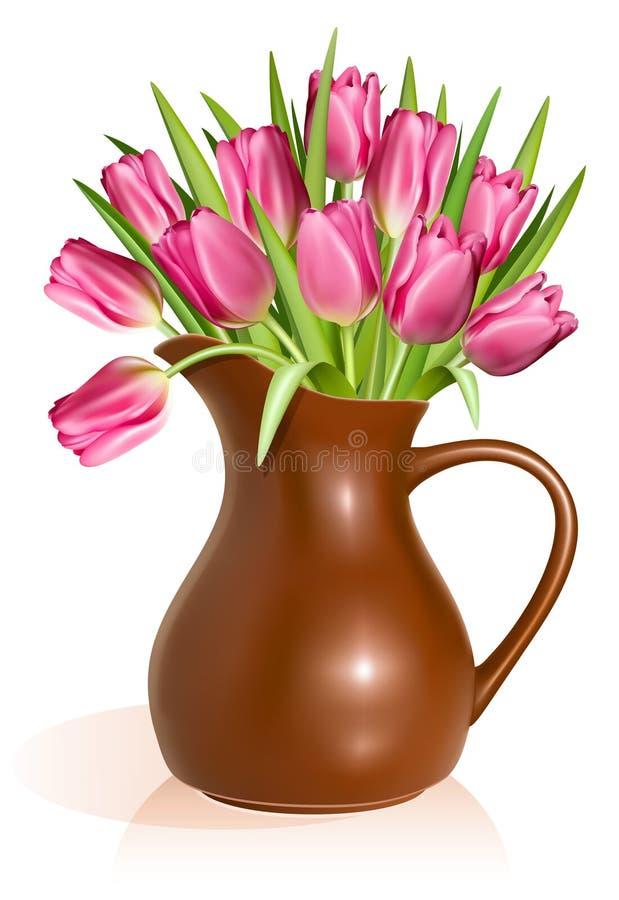 Tulipas cor-de-rosa no jarro da argila ilustração royalty free