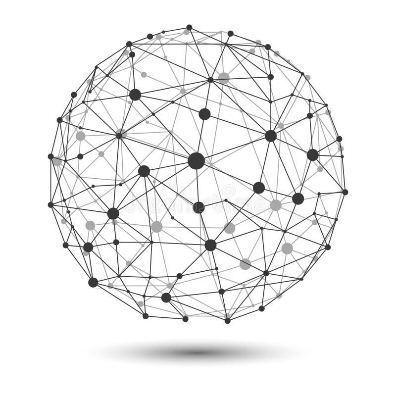 Ilustração do VETOR: rede de conexão do globo do quadro do fio ilustração royalty free