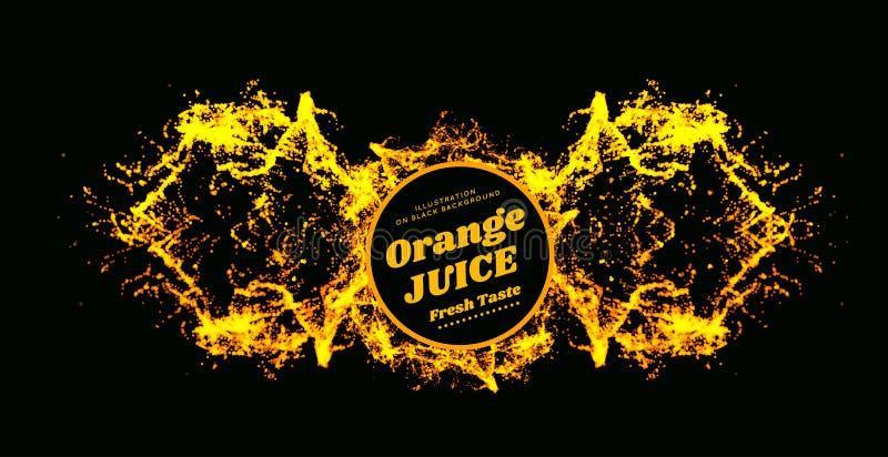 Ilustração do vetor do respingo do suco de laranja no fundo preto Abacaxi, papaia, suco da manga ilustração stock