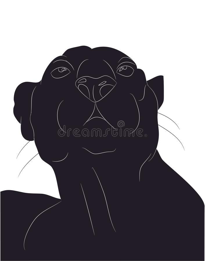 Ilustração do vetor do retrato da pantera, silhueta de tiragem ilustração stock