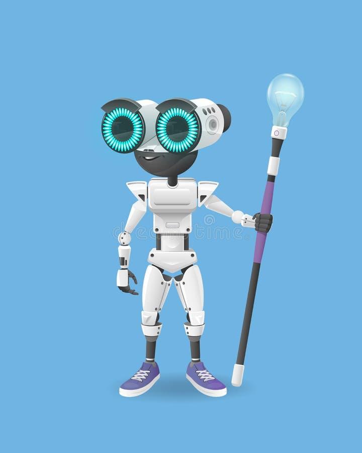 A ilustração do vetor do robô branco com os olhos redondos grandes está em um fundo azul ilustração stock