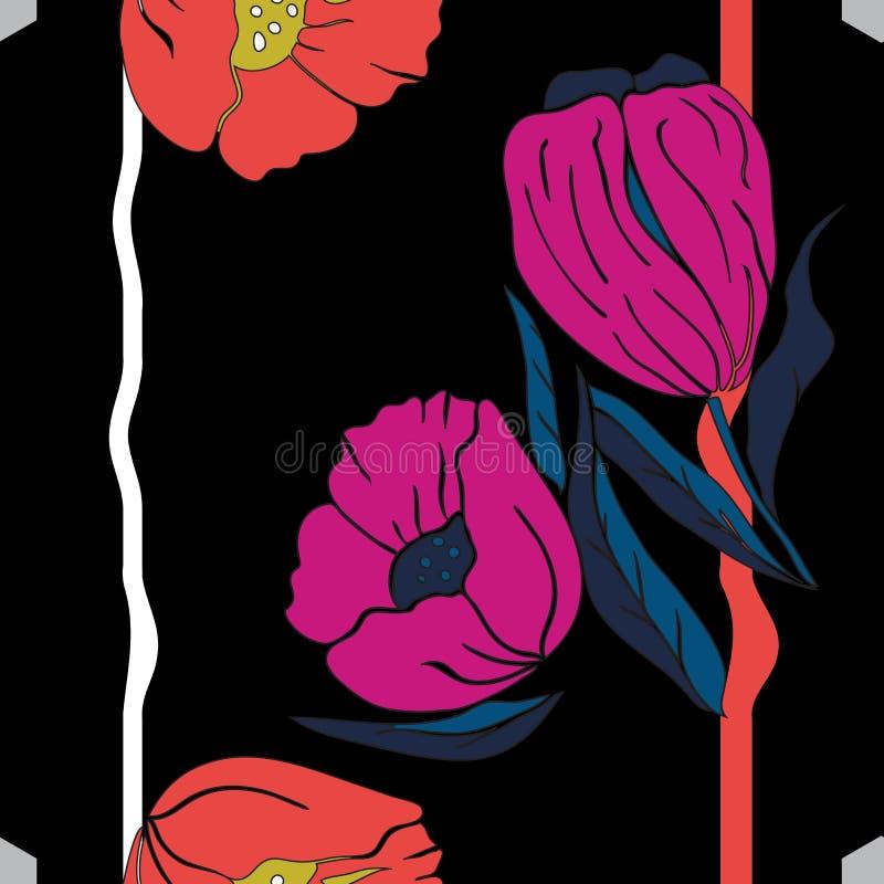 Ilustração do vetor do rosa, papoilas azuis e alaranjadas e tulipas ilustração do vetor