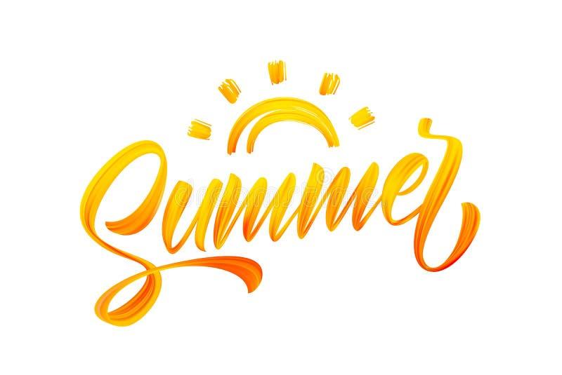 Ilustração do vetor: Rotulação amarela da pintura acrílica do curso escrito à mão da escova do verão com Sun ilustração royalty free