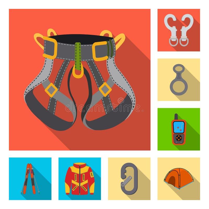 Ilustração do vetor do símbolo do alpinism e do pico Grupo de símbolo de ações do alpinism e do acampamento para a Web ilustração stock