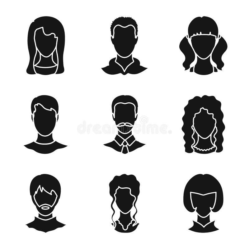 Ilustração do vetor do símbolo do caráter e do perfil Ajuste da ilustração do vetor do estoque do caráter e do manequim ilustração stock