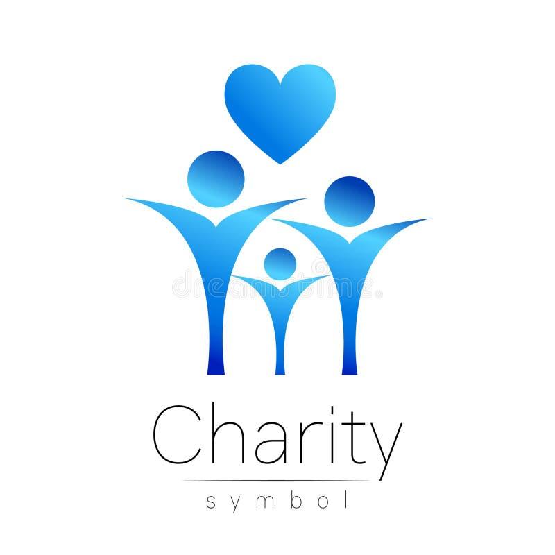 Ilustração do vetor Símbolo da caridade Coração dos povos do sinal isolado no fundo branco Empresa azul do ícone, Web, cartão ilustração royalty free