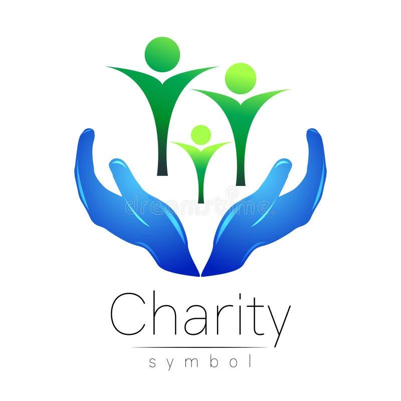 Ilustração do vetor Símbolo da caridade Mão do sinal isolada no fundo branco Empresa azul do ícone, Web, cartão, cópia ilustração do vetor