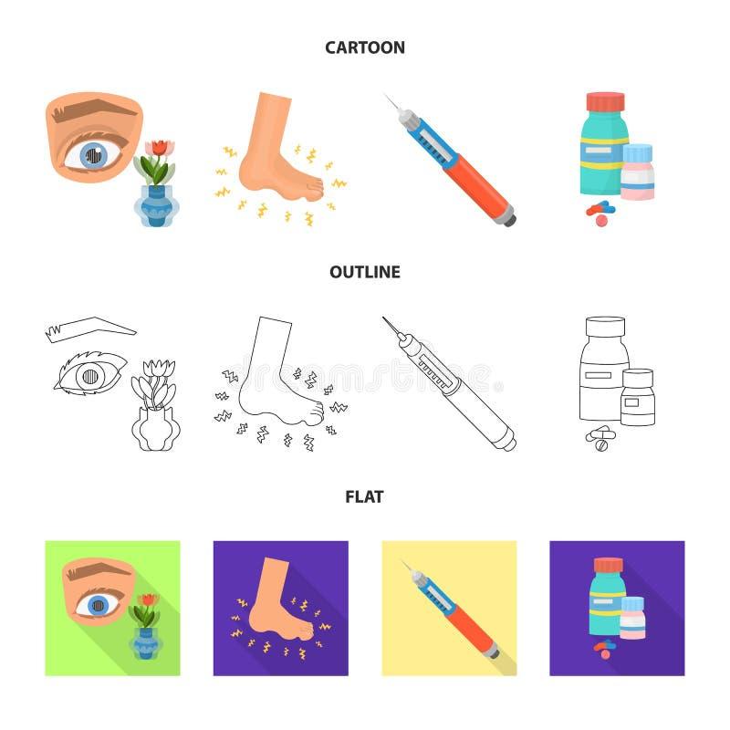 Ilustração do vetor do símbolo da dieta e do tratamento Coleção da ilustração conservada em estoque do vetor da dieta e da medici ilustração do vetor