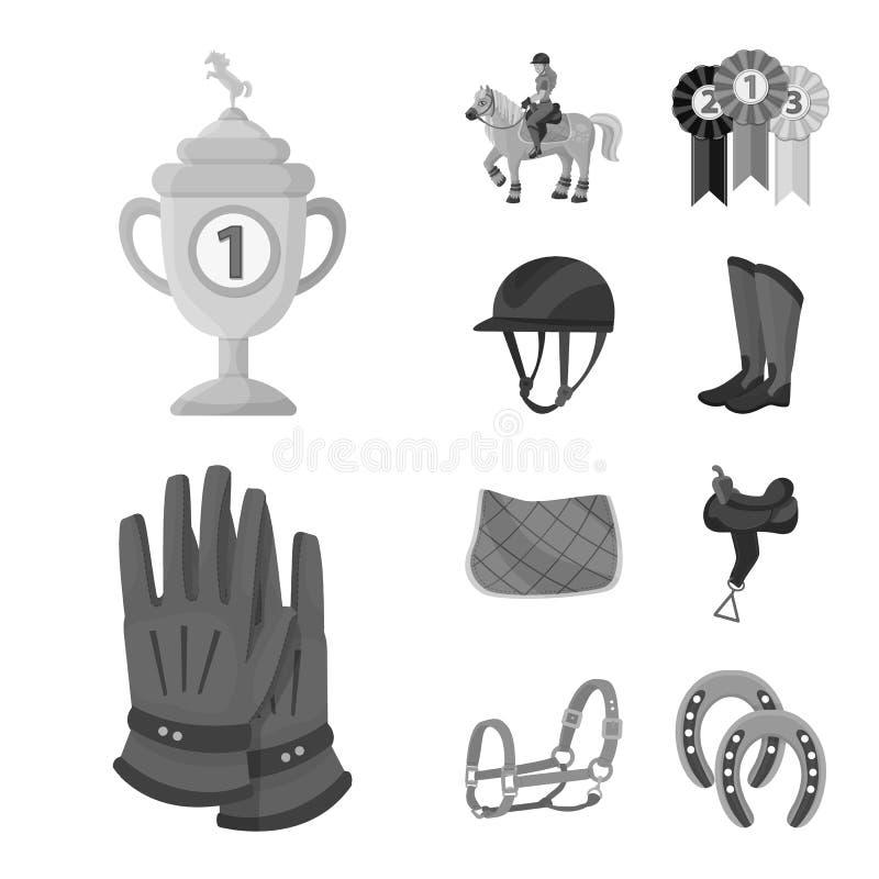 Ilustração do vetor do símbolo da raça e do cavalo Ajuste da raça e de competir a ilustração conservada em estoque do vetor ilustração stock