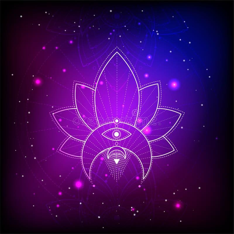 Ilustração do vetor do símbolo místico Lotus no fundo abstrato Sinal geométrico tirado nas linhas cor azul e cor-de-rosa ilustração stock