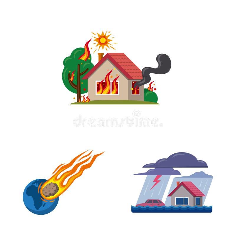 Ilustração do vetor do símbolo natural e do desastre Coleção do ícone natural e do risco do vetor para o estoque ilustração do vetor