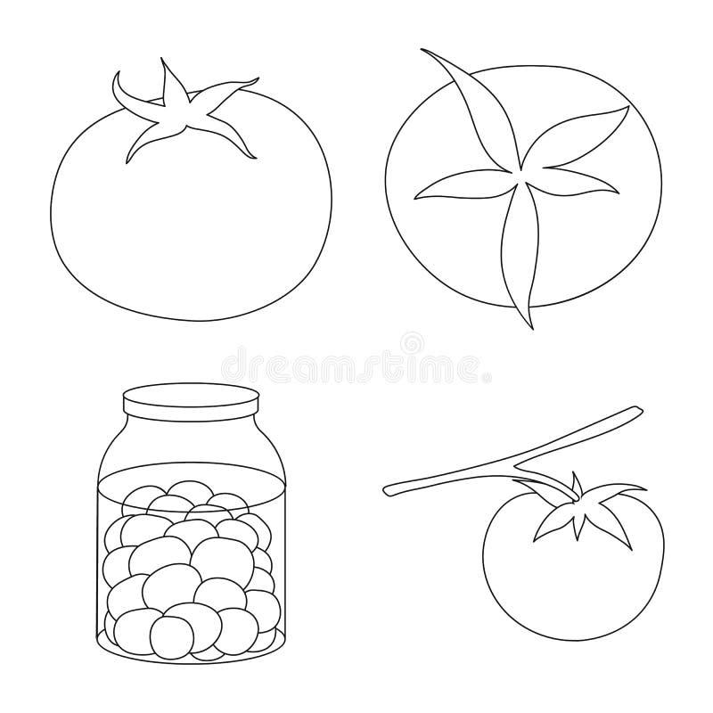 Ilustração do vetor do símbolo do tomat e da dieta Cole??o da ilustra??o conservada em estoque do vetor do tomat e da agricultura ilustração stock