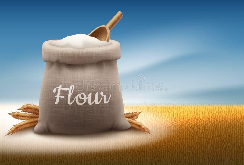 Ilustração do vetor do saco completo da farinha branca com pá e orelhas do trigo no fundo da paisagem com céu ilustração royalty free