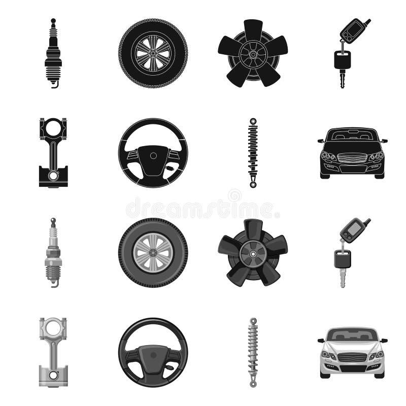 Ilustração do vetor do sinal do automóvel e da parte Coleção do símbolo de ações do automóvel e do carro para a Web ilustração do vetor