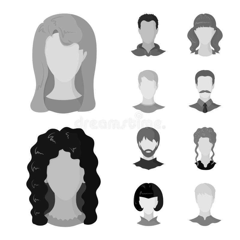 Ilustração do vetor do sinal do caráter e do perfil Ajuste do ícone do vetor do caráter e do manequim para o estoque ilustração royalty free