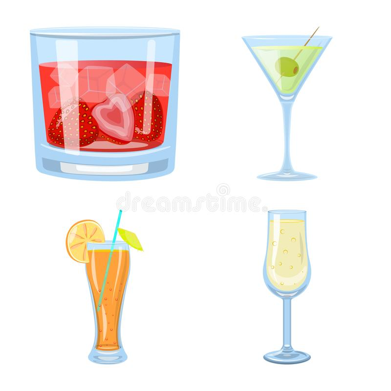 Ilustração do vetor do sinal do cocktail e da bebida Ajuste do ícone do vetor do cocktail e do gelo para o estoque ilustração do vetor