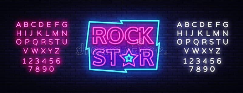 Ilustração do vetor do sinal de néon da estrela do rock Projete o quadro indicador de néon na música rock, bandeira clara do mold ilustração stock