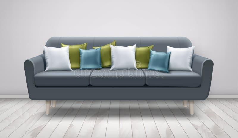 Ilustração do vetor do sofá cinzento com os coxins no assoalho de madeira e na parede branca Descansos brancos, azuis, e verdes n ilustração stock