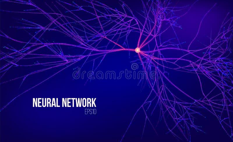 Ilustração do vetor do sumário da rede neural 3d Árvore dos dados com raiz Córrego da informação Sistema de computação do núcleo ilustração royalty free