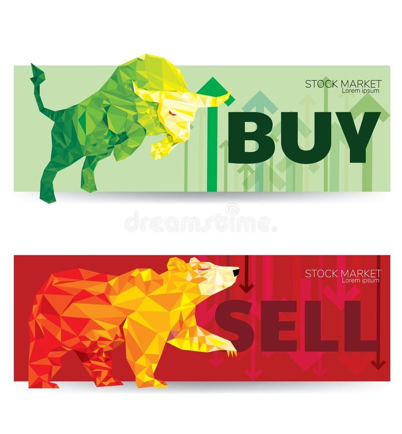 Ilustração do vetor do sumário de Bull e de urso conceito de projeto gráfico da tendência com tendência para a alta e Bearish do  ilustração stock