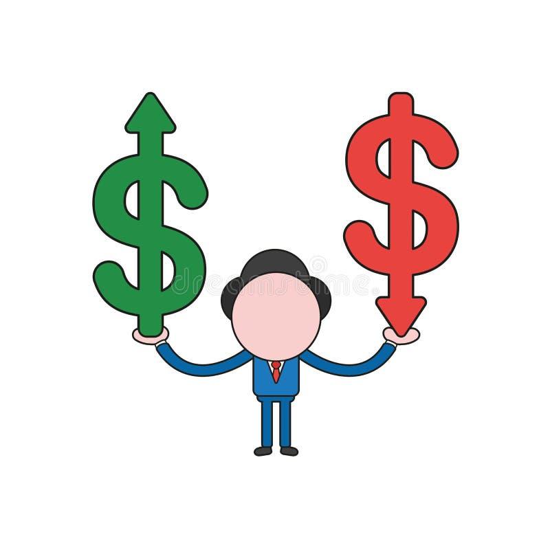Ilustração do vetor do symb do dólar da terra arrendada do caráter do homem de negócios ilustração royalty free