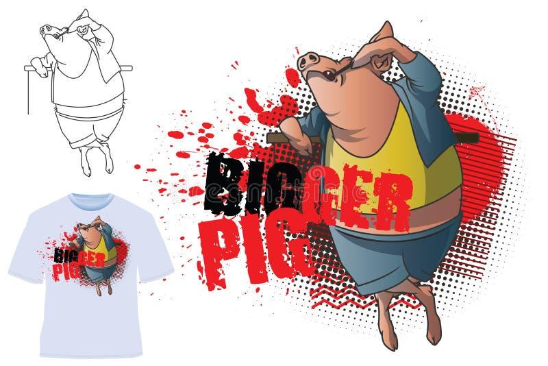 Ilustração do vetor T-shirt do molde Porco mais grande ilustração stock