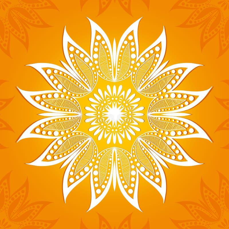 Ilustração do vetor Teste padrão da circular da flor Um desenho estilizado mandala Flor de lótus estilizado imagens de stock royalty free