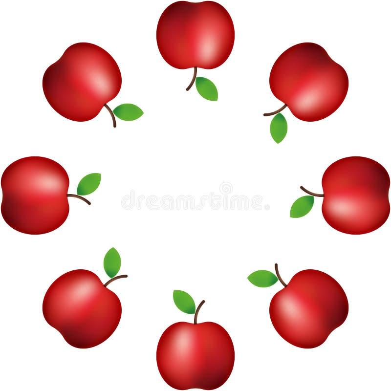 Ilustração do vetor teste padrão da maçã vermelha realística na decoração branca do fundo bandeira Ornamento ilustração do vetor