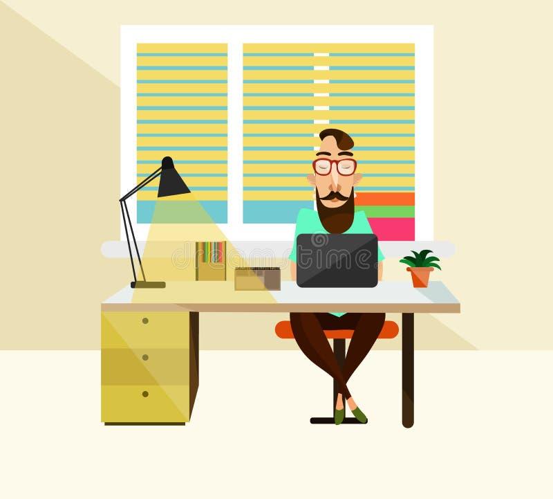 Ilustração do vetor do trabalhador de escritório no local de trabalho ilustração do vetor
