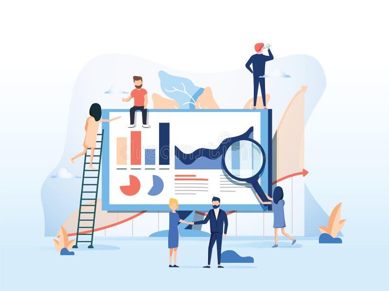 Ilustração do vetor Trabalhos de equipa creativos Os povos estão construindo um projeto do negócio no Internet A tela de monitor ilustração royalty free