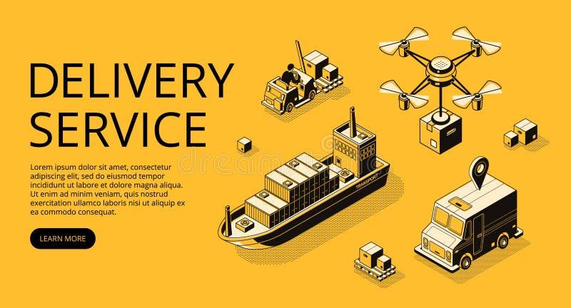 Ilustração do vetor do transporte do serviço de entrega ilustração royalty free