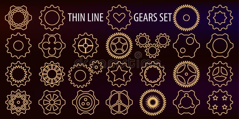 Ilustração do vetor Um grupo de ícones sob a forma da linha fina engrenagens como um símbolo do machanica, do trabalho do motor,  ilustração do vetor