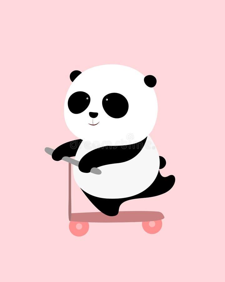Ilustração do vetor: Uma panda gigante dos desenhos animados bonitos está em um 'trotinette' ilustração royalty free