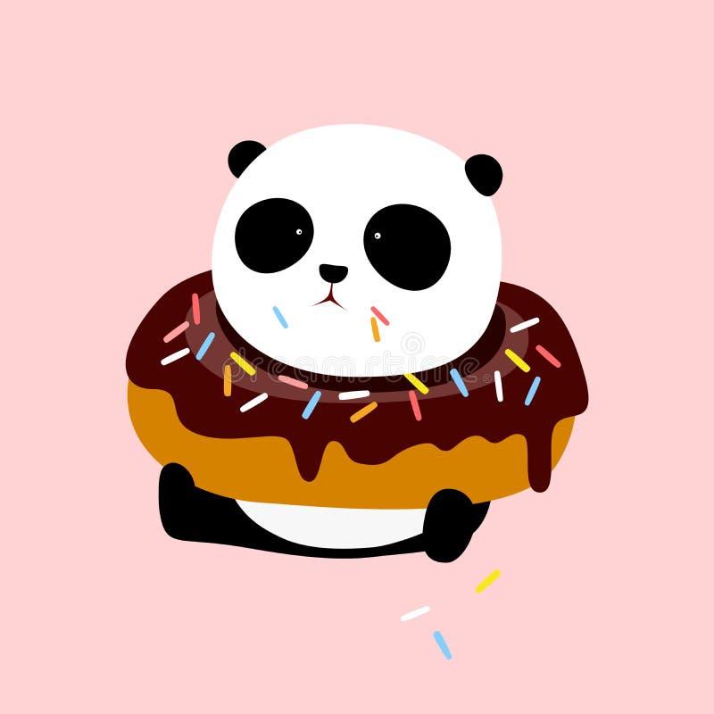 Ilustração do vetor: Uma panda gigante dos desenhos animados bonitos está sentando-se na terra, com uma filhós grande do chocolat ilustração royalty free
