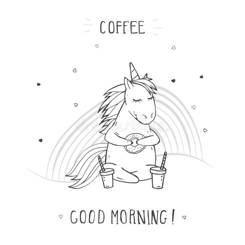 """Ilustração do vetor do unicórnio de assento bonito tirado mão com BOM DIA CAFÉ do †do café, do arco-íris e do texto do """"! ilustração stock"""