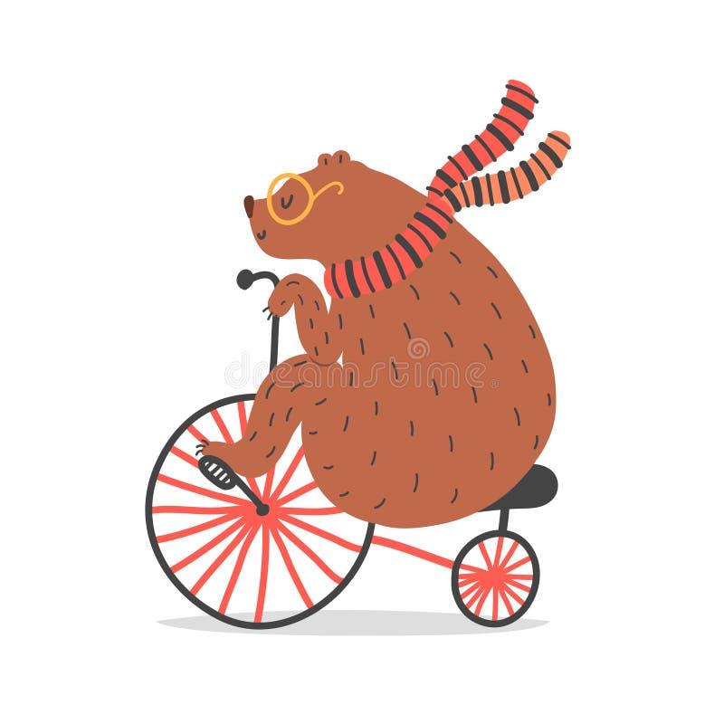 Ilustração do vetor do urso na bicicleta Artista do circo que faz o truque ilustração royalty free