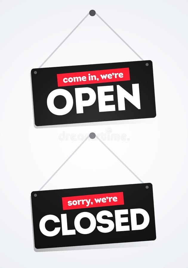 Ilustração do vetor vinda nos nós com referência a aberto, pesaroso nós somos etiquetas fechadas dos sinais da porta ilustração royalty free