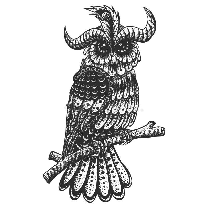 Ilustração do vetor do vintage da decoração da coruja ilustração stock