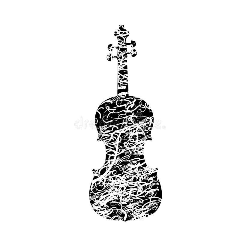 Ilustração do vetor do violino Elemento do cartaz do violino ilustração stock