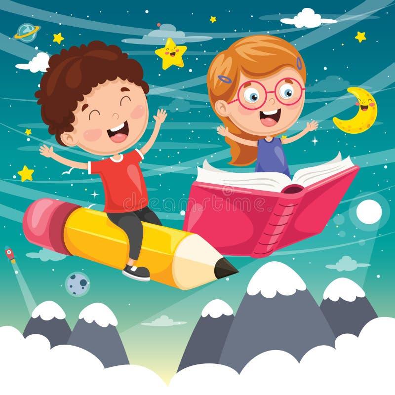 Ilustração do vetor do voo dos alunos ilustração stock