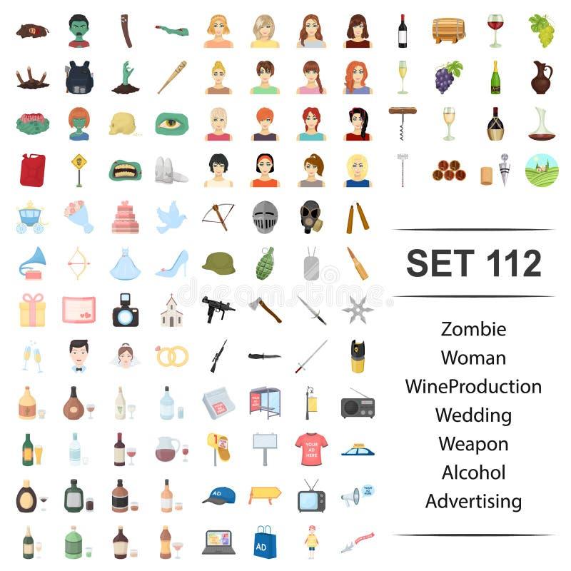Ilustração do vetor do zombi, mulher, vinho, produção, grupo do ícone da propaganda do álcool da arma do casamento ilustração stock
