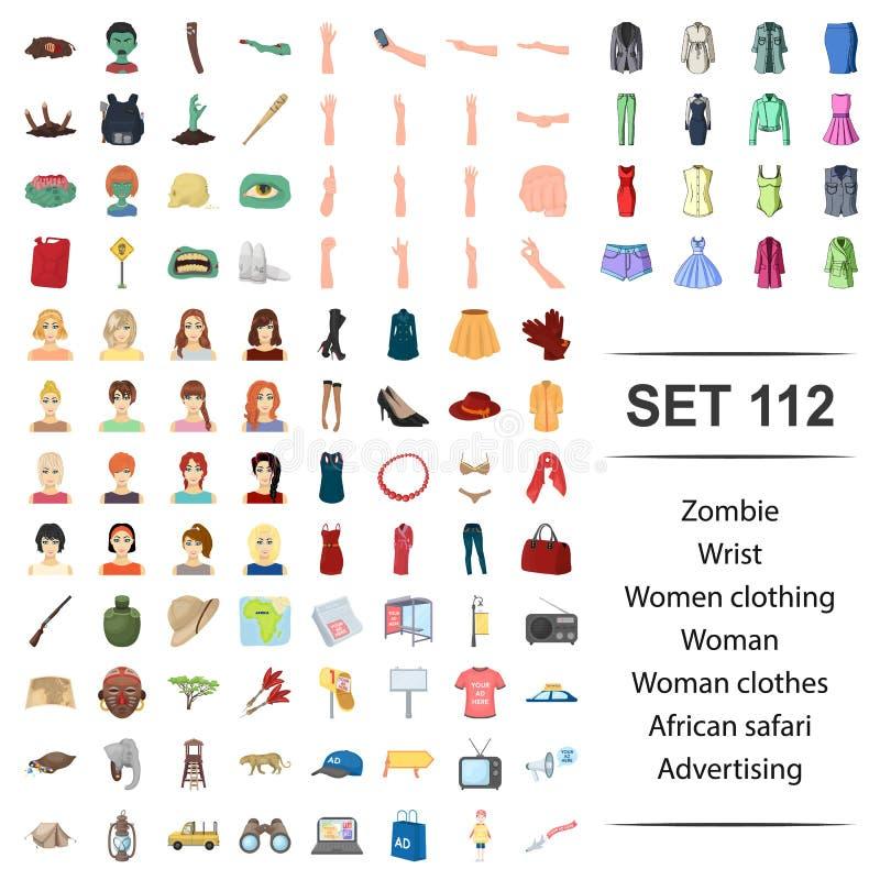 Ilustração do vetor do zombi, pulso, mulheres, roupa, grupo africano do ícone da propaganda do safari da roupa da mulher ilustração stock