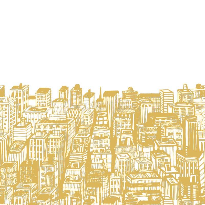 Ilustração do vintage com a cidade grande tirada mão ilustração stock