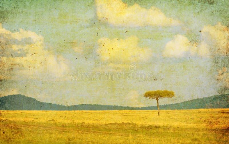 Ilustração do vintage da paisagem africana ilustração do vetor