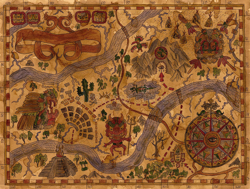 A ilustração do vintage do pirata aventura-se o mapa com tesouros ilustração do vetor