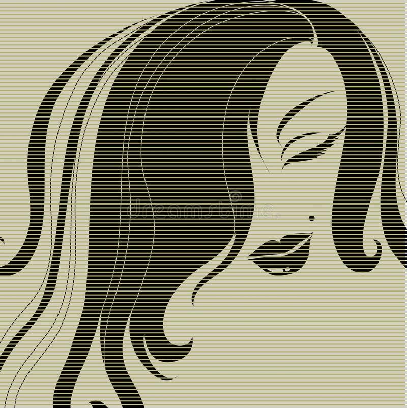 Ilustração do vintage do vetor de uma menina ilustração do vetor
