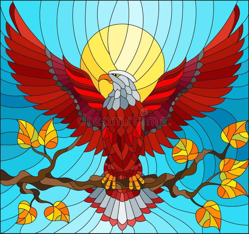 Ilustração do vitral com a águia vermelha fabulosa que senta-se em um ramo de árvore contra o céu ilustração royalty free