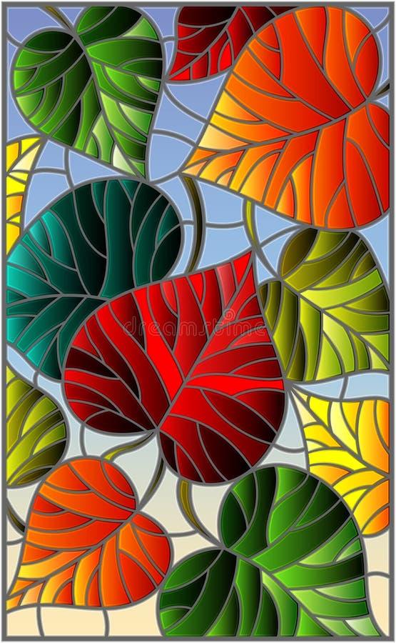 Ilustração do vitral com as árvores coloridas das folhas em um fundo azul ilustração stock
