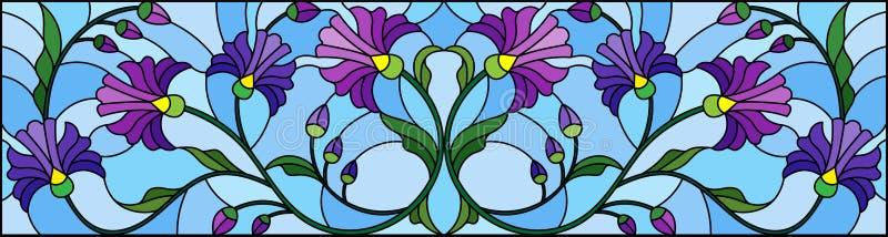 Ilustração do vitral com as flores azuis abstratas em um fundo azul, orientação horizontal ilustração royalty free